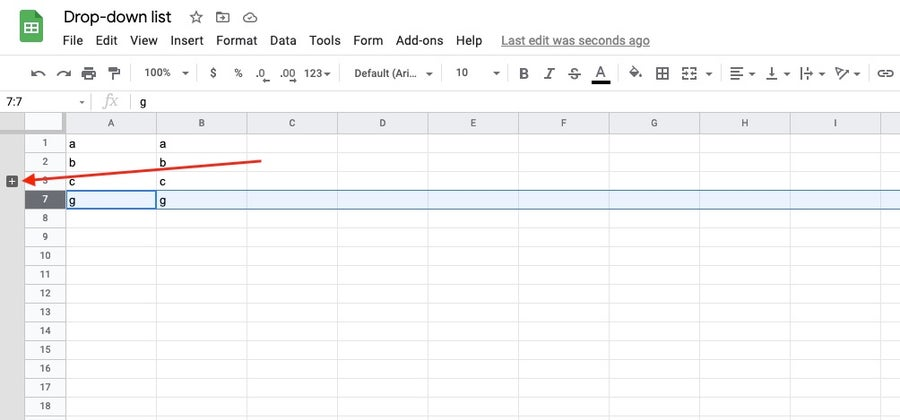minimize or expand a group google sheets