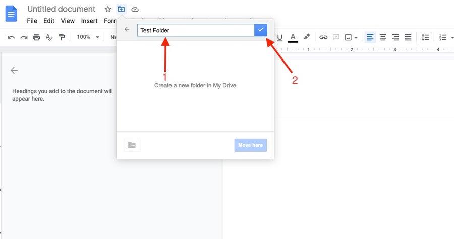Name new folder in google docs