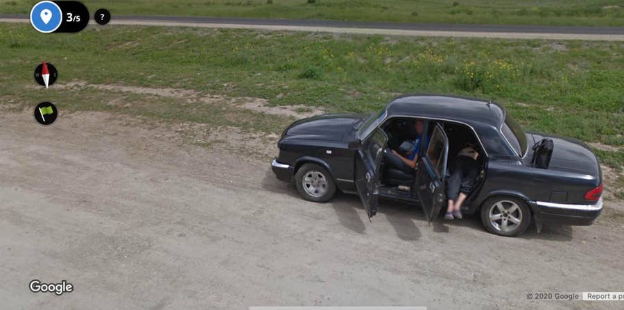 Nap on side of road Russia