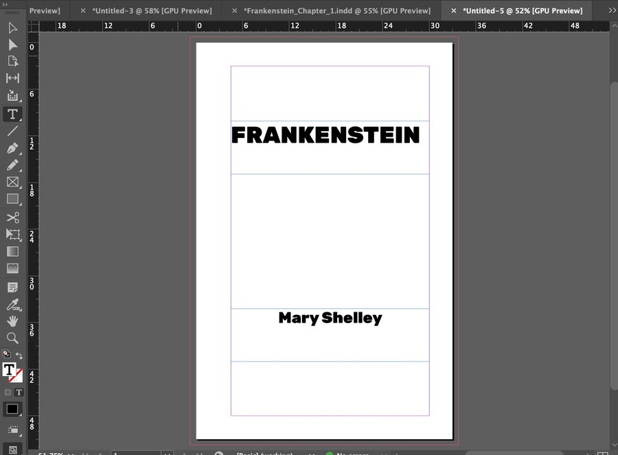 Frankenstein Mary Shelley in InDesign