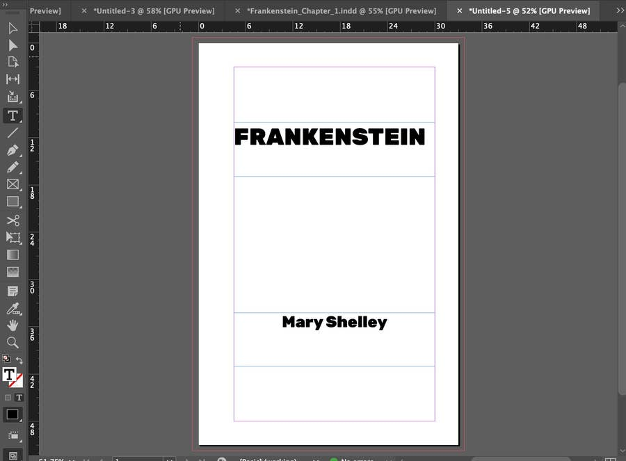 Frankenstein Mary Shelley in InDesign