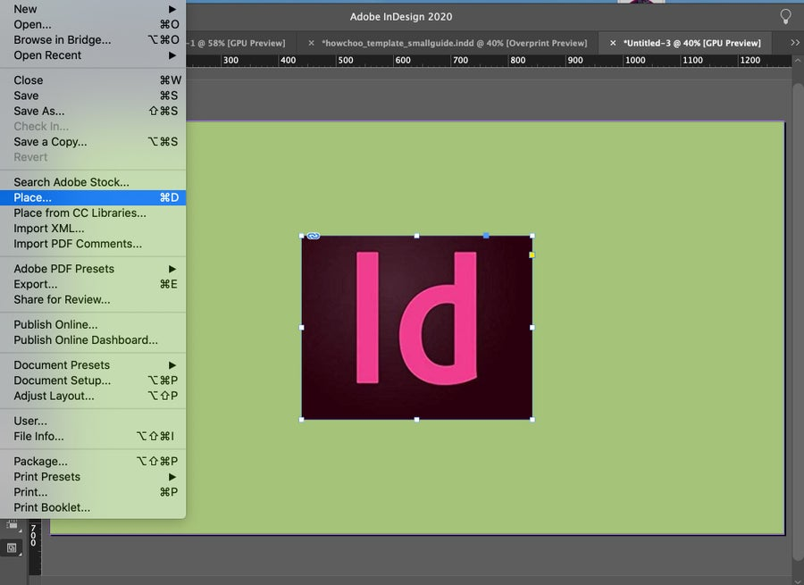 Place Image into InDesign