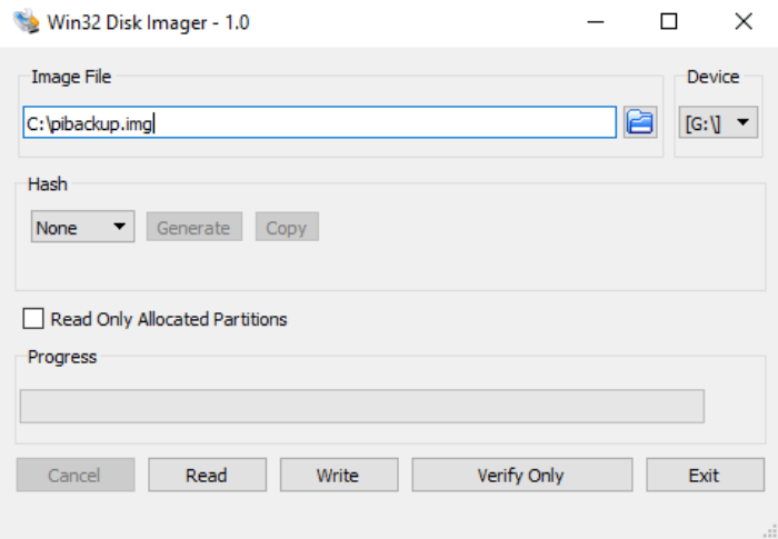 Raspberry Pi backup image file
