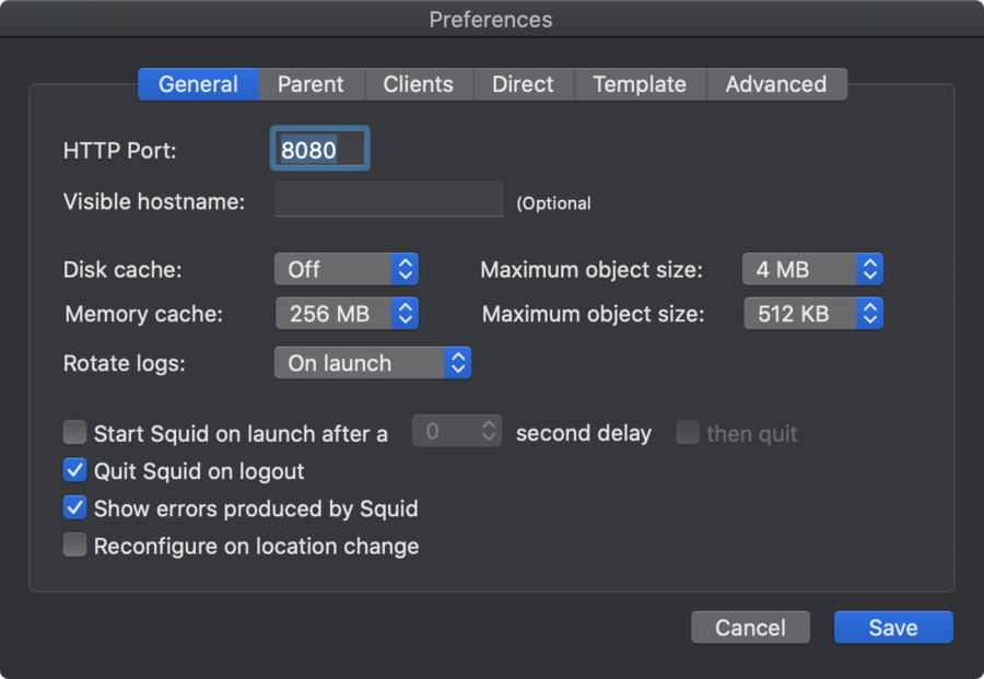 SquidMan on macOS - General preferences