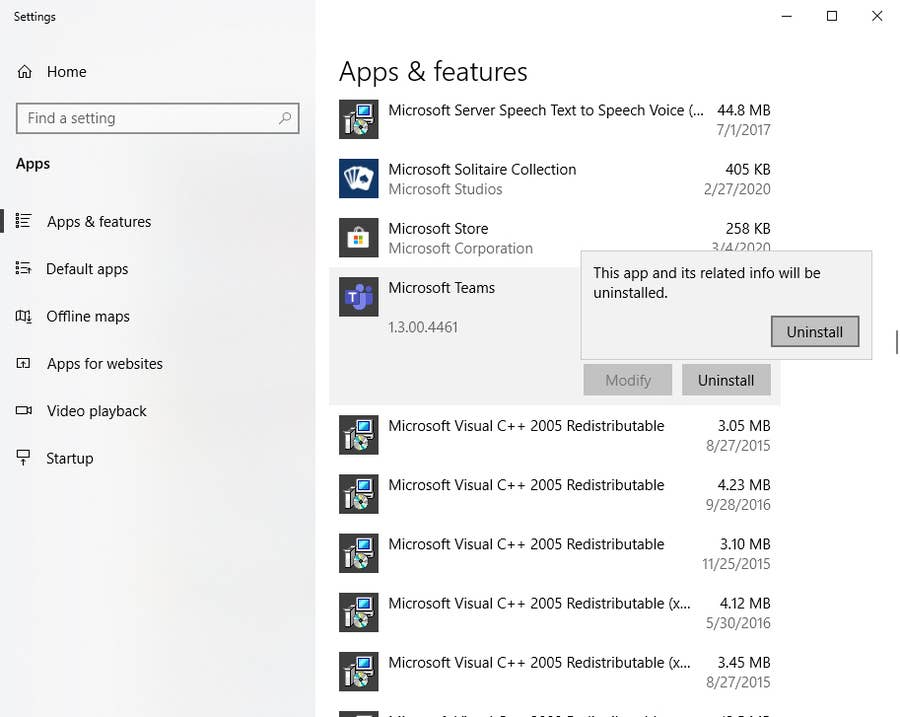 Windows Uninstall Microsoft Teams