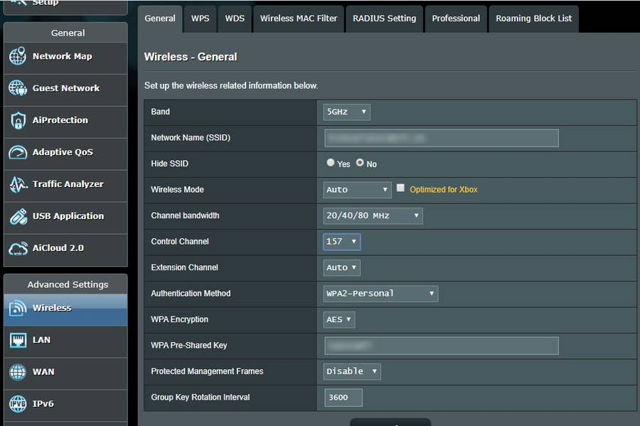 Router Channel Settings