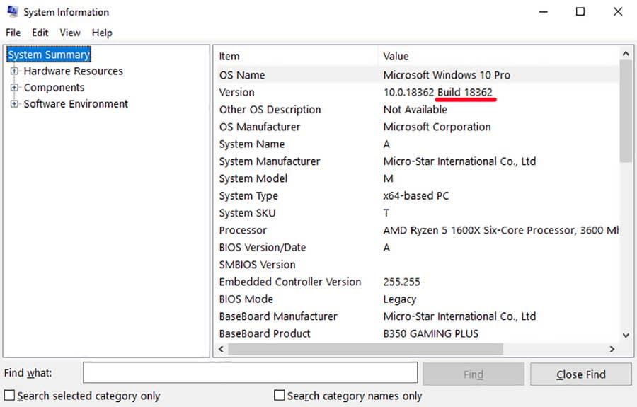 Windows Build System Information
