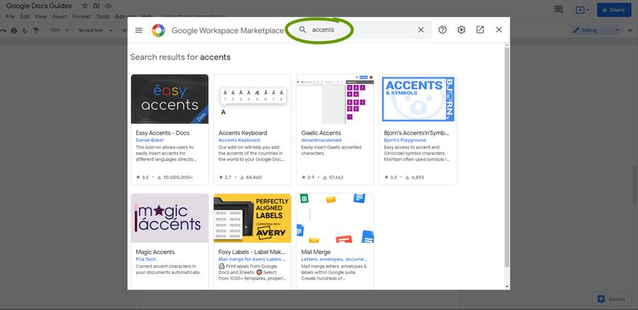 google docs addons search