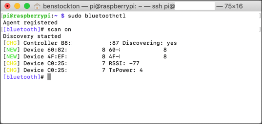 Scanning for Bluetooth Devices using bluetoothctl