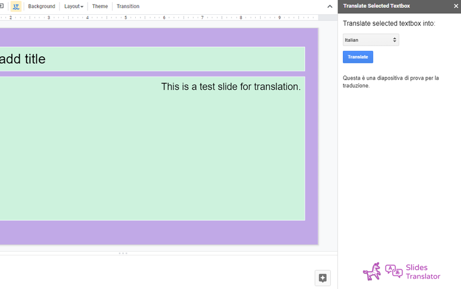 google slides translator addon