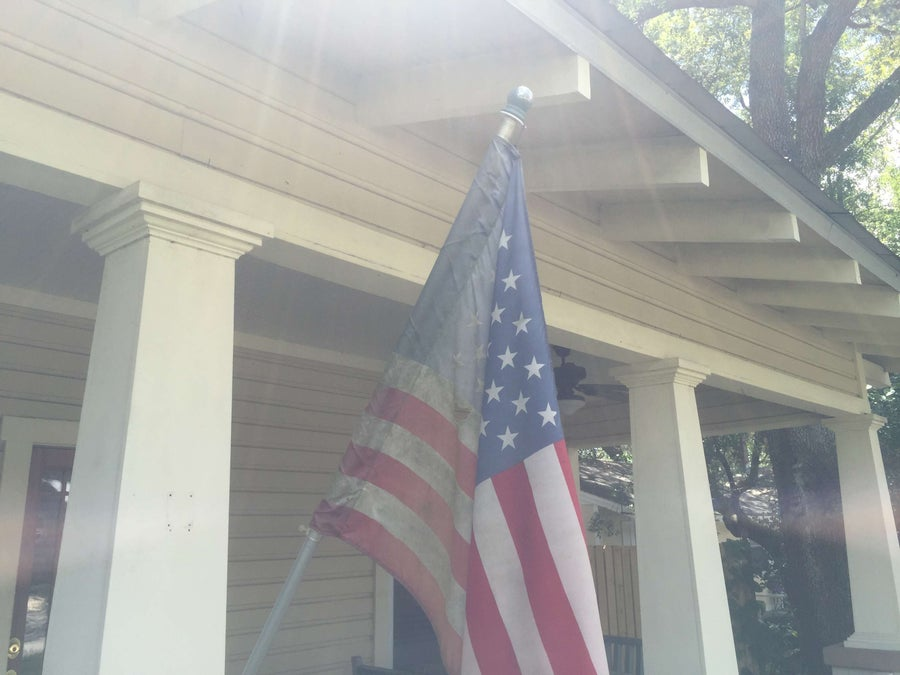 Old, worn American flag