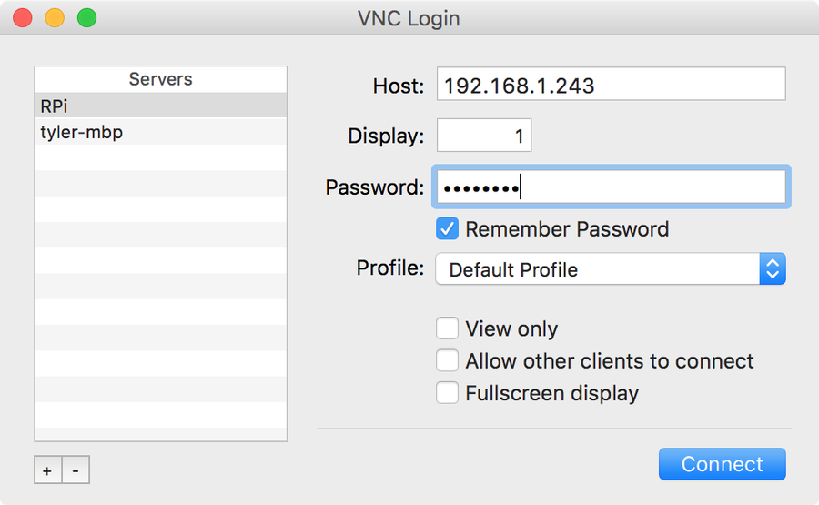 Pi VNC login screen