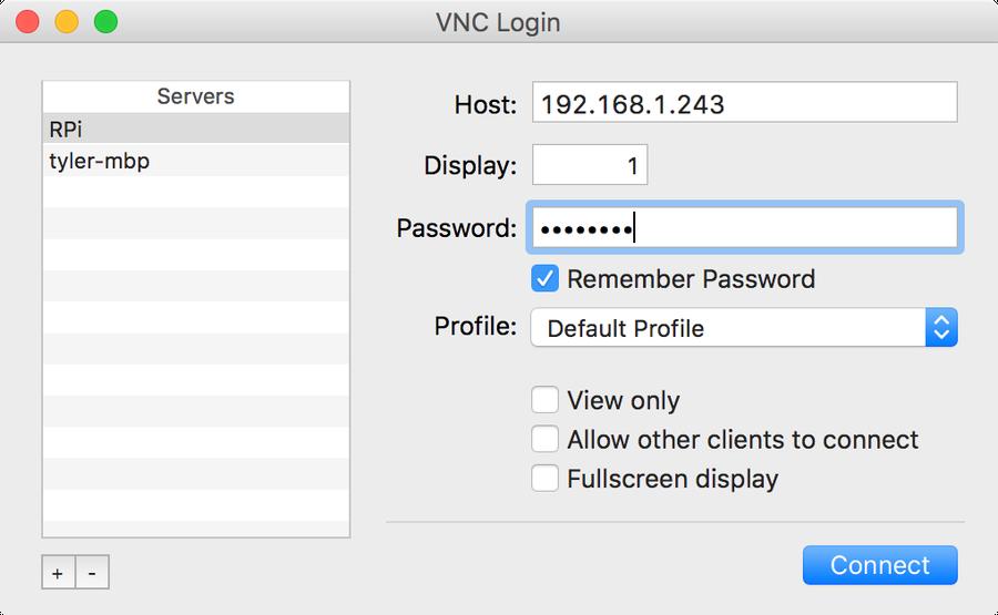Pi VNC login screen