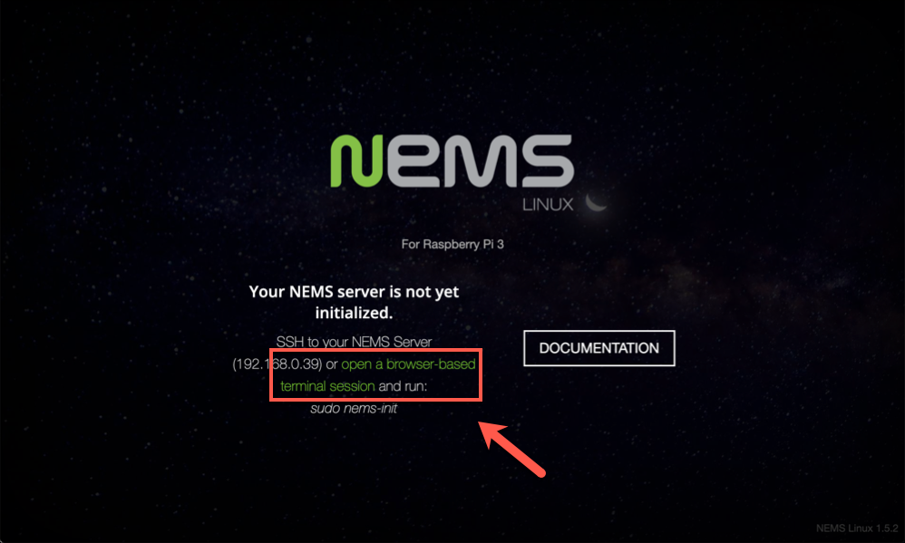 The Not Initialized warning for the NEMS web portal