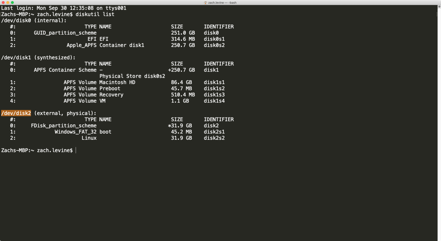 Finding disk name in Terminal