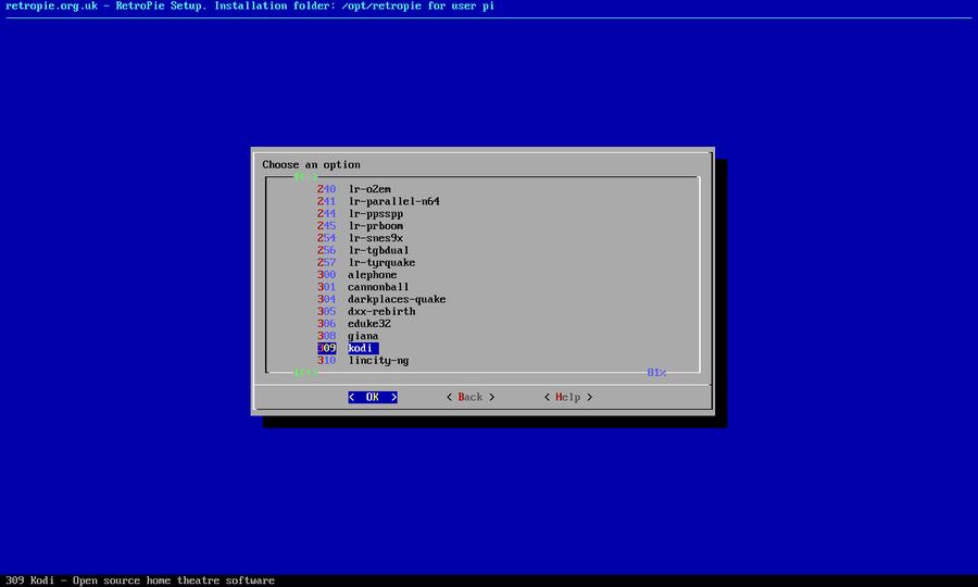 Install the optional Kodi package