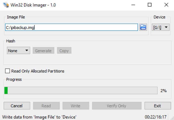 Win32 Disk Imager write data