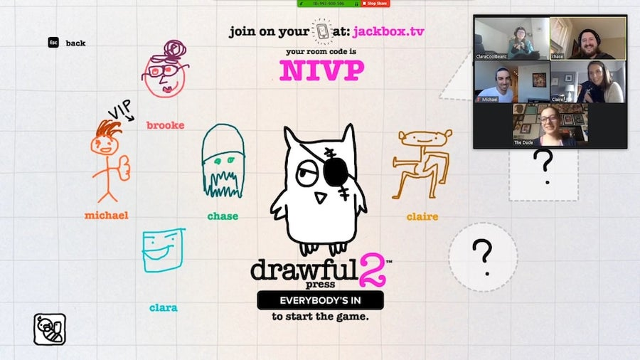 Jackbox Game Drawful via Zoom
