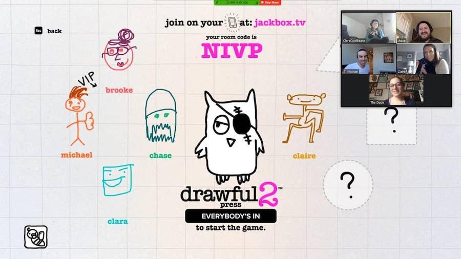 Jackbox Game Drawful via Zoom