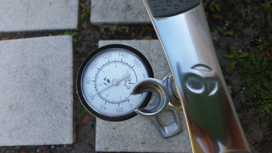 A bicycle tire pressure tester