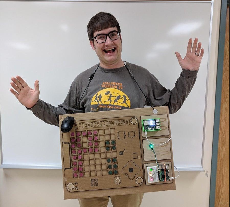 Man dressed as Raspberry Pi Halloween