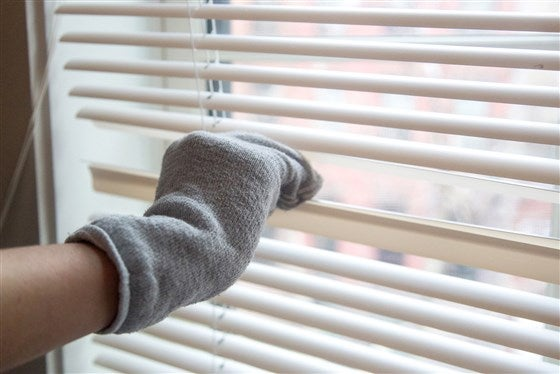 old socks to clean blinds