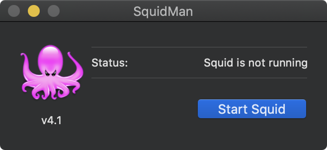 SquidMan on macOS - Start Squid