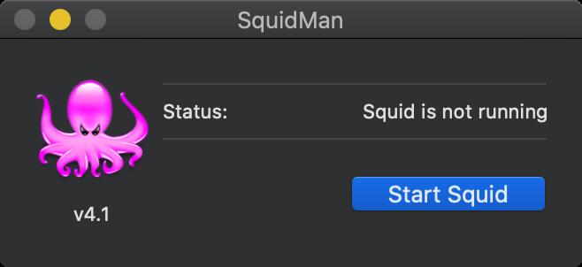 SquidMan on macOS - Start Squid
