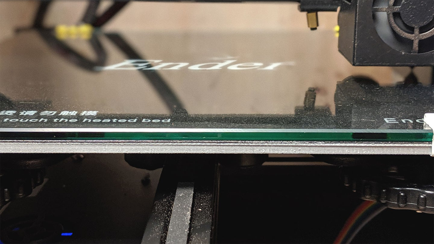 A glass bed on an Ender 3 3D printer