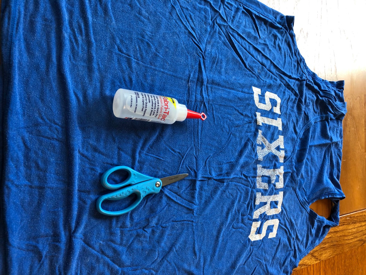 Blue Tank Top with Scissors and Glue