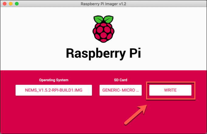 Press Write to begin writing to a microSD card in the Raspberry Pi Imager