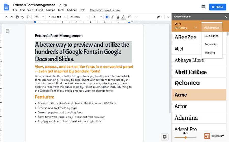 extensis fonts google workspace addons