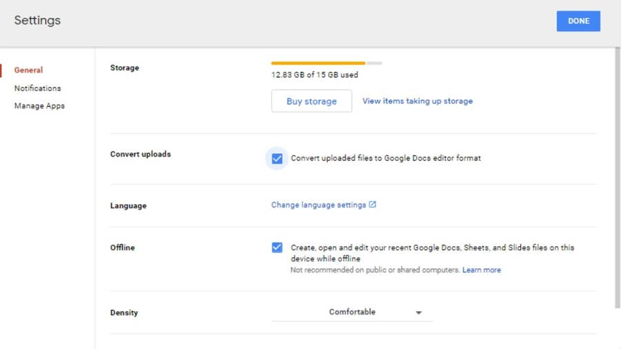 Enable conversions in Google Drive