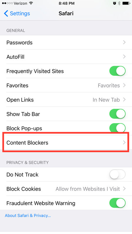 Under General, click on Content Blockers