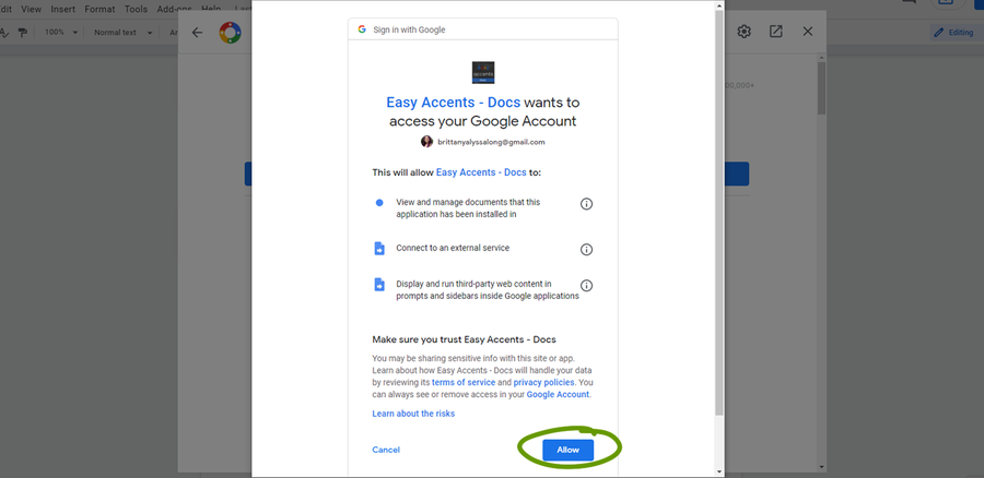 google docs addons allow access