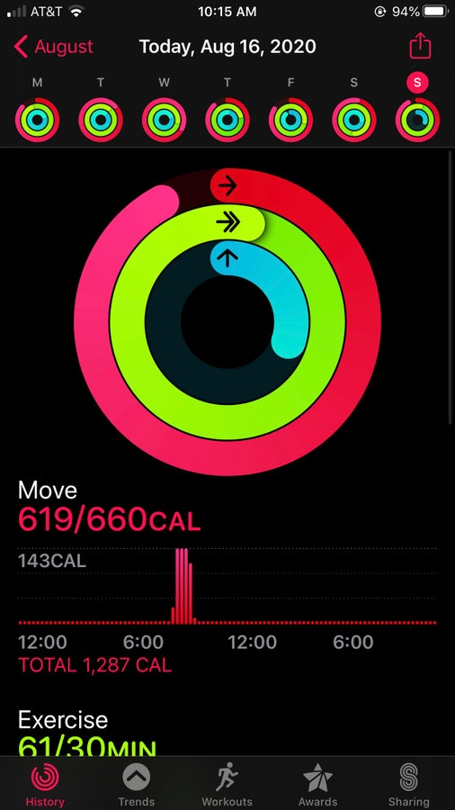 Synced rings on the Activity app