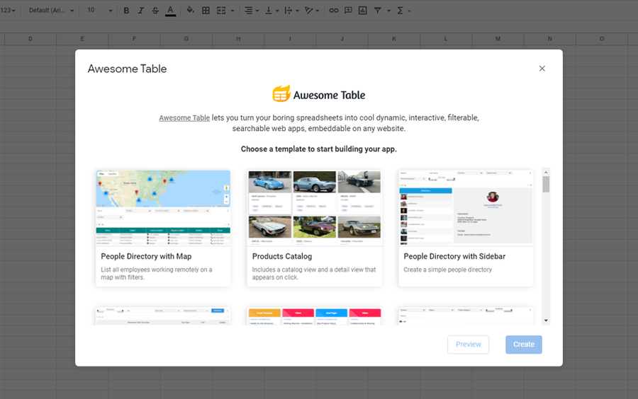 awesome table google sheets addon