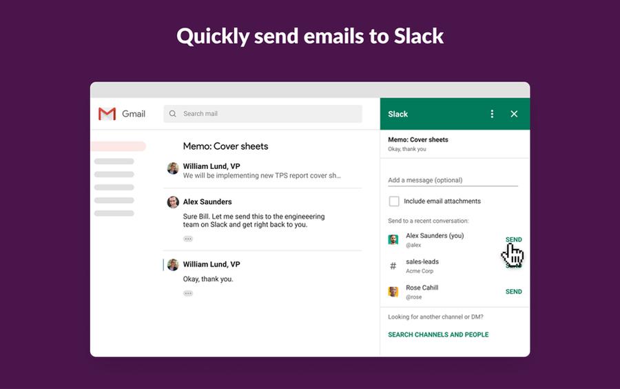 slack addon gmail google