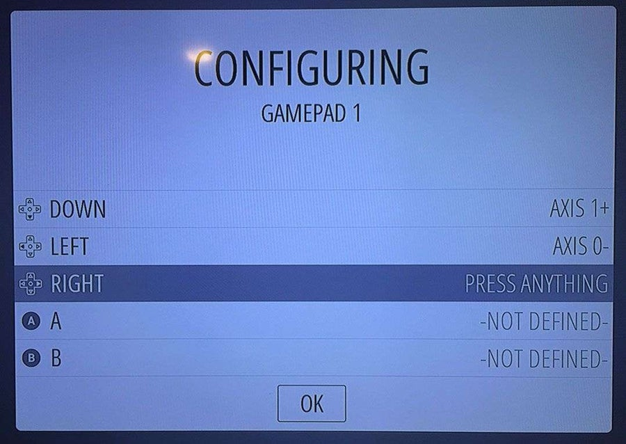 RetroPie controller configuration screen