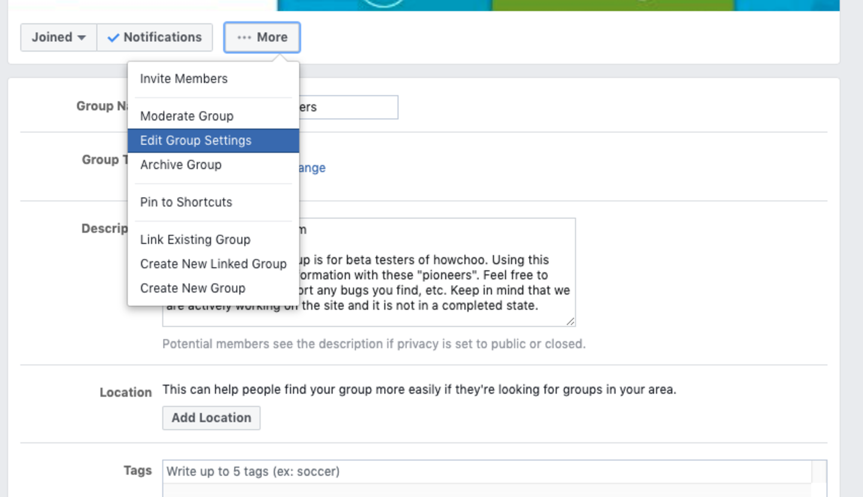 Facebook Group Edit Group Settings