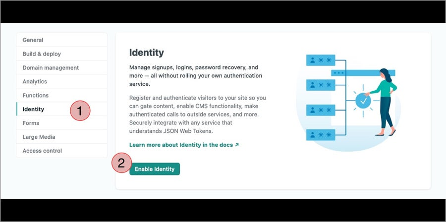 Netlify's Enable Identify page