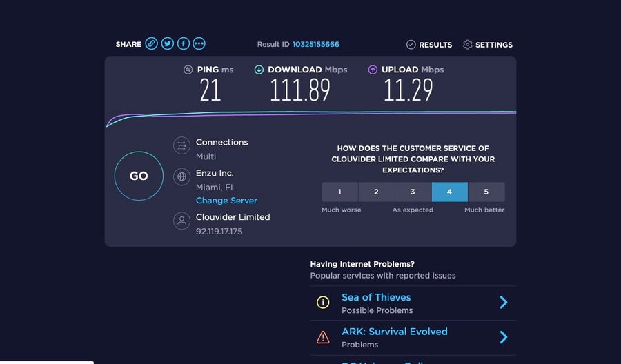 Ookla Speed of NordVPN