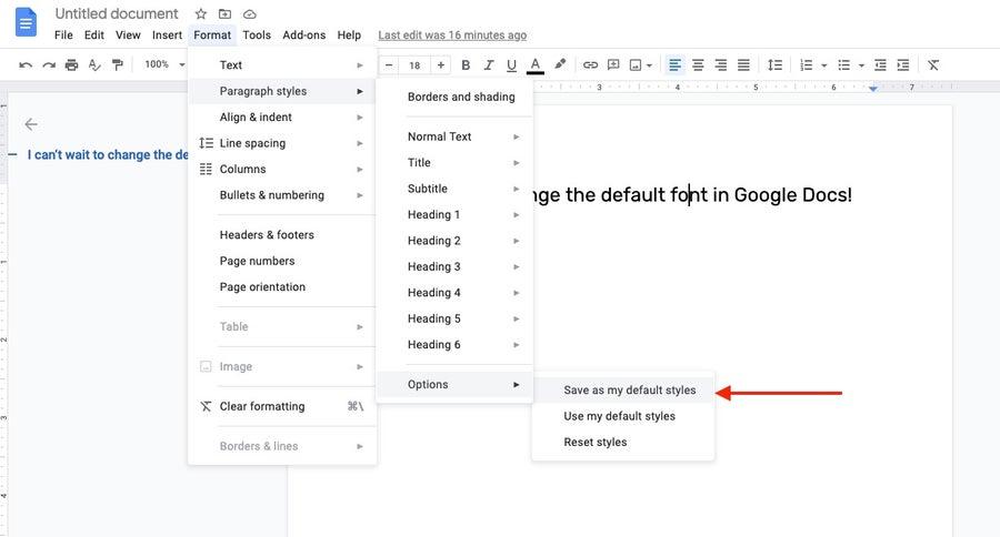 new default style google docs