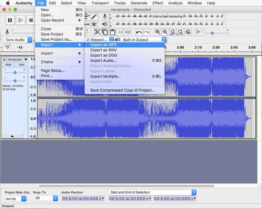 Convert to mp3 with Audacity