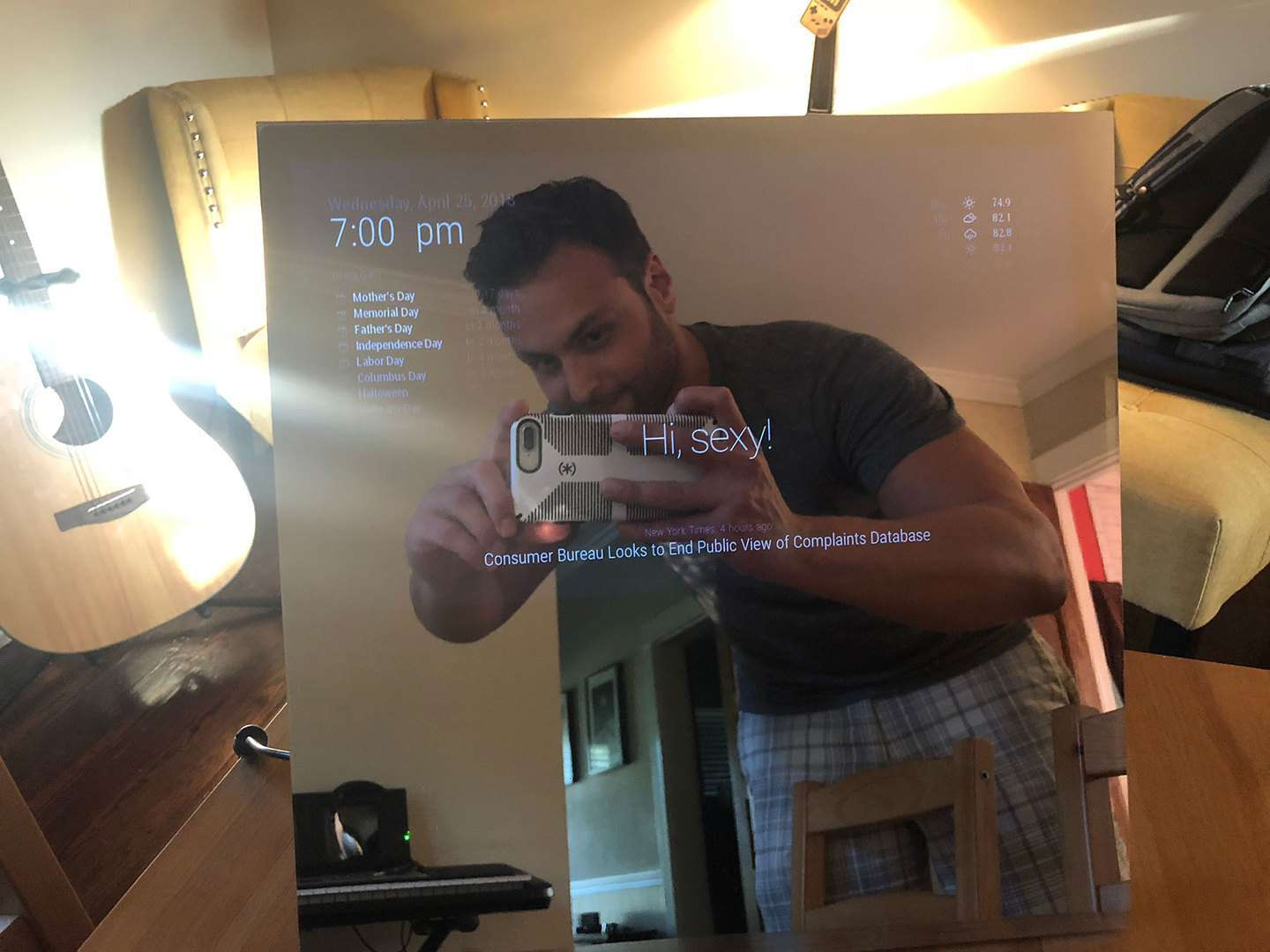 Google Home-enabled magic mirror
