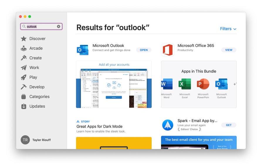 Screenshot of app store