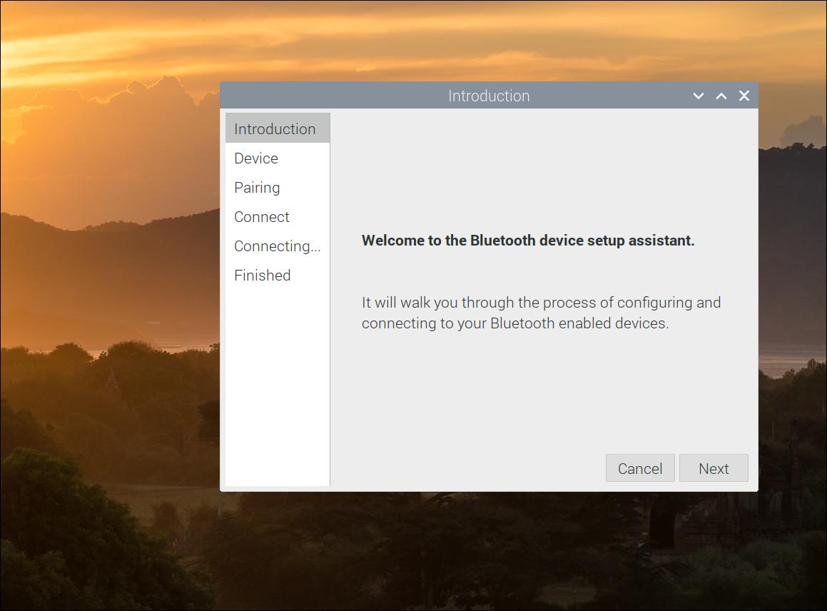 Raspberry Pi Bluetooth device setup assistant