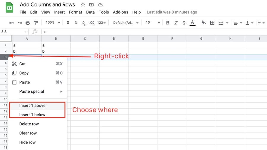 Adding a row in Google Sheets