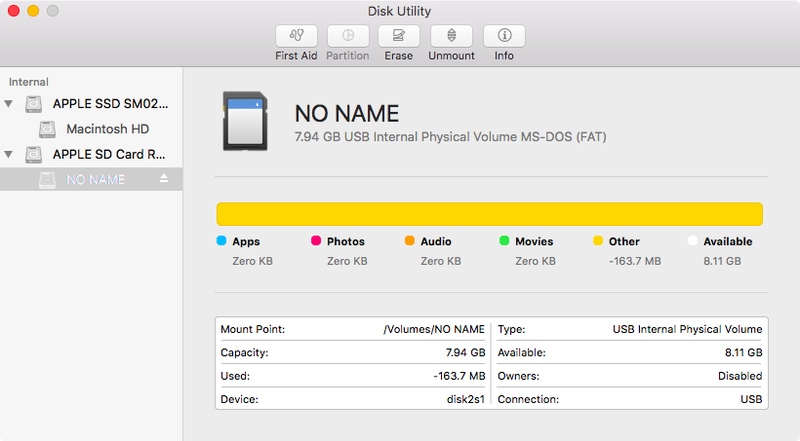 Open the Disk Utility and find your SD card