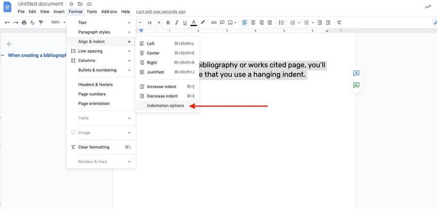 indentation options in Google Docs